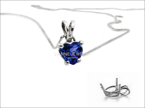 Clearance SALE 50% Off - Sapphire Heart Pendant in 14K White gold - Lianne Jewelry