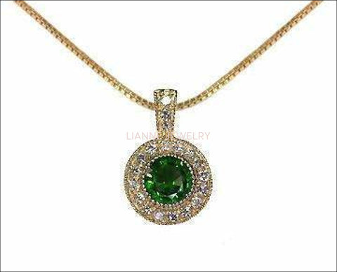 Emerald Pendant Necklace 14K Yellow or White gold Round Halo Pendant Top quality Emerald and Diamonds Minimalist pendant - Lianne Jewelry