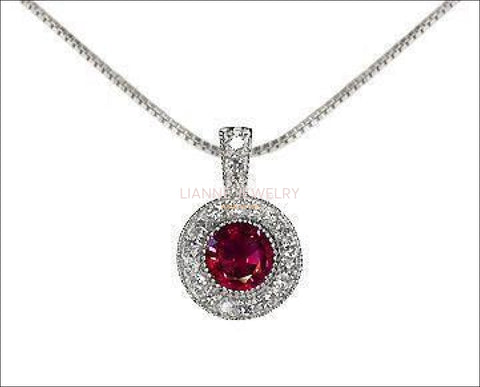 Ruby Pendant Necklace 14K Yellow or White gold Round Halo Pendant Top quality Ruby and Diamonds  Minimalist pendant - Lianne Jewelry