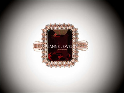 18K Rose Gold Red Emerald cut Lab Tourmaline, Unique Engagement Ring surrounded with 76 Diamonds - Lianne Jewelry