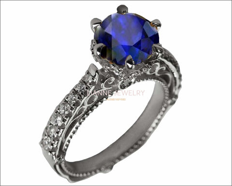 18K White Gold Sapphire Cathedral Filigree Flower Unique Diamond Engagement Ring 6 prongs - Lianne Jewelry