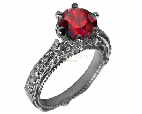 18K White Solid Gold Ruby Edwardian Filigree Flower Unique Diamond Engagement Ring 6 prongs - Lianne Jewelry