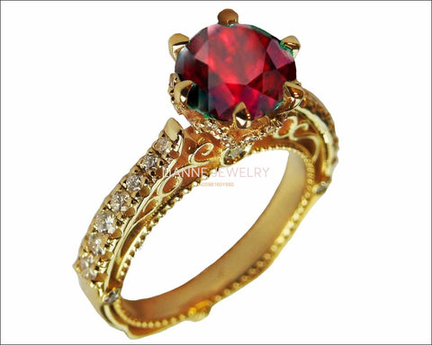 18K Ruby Edwardian Filigree Flower Unique Diamond Engagement Ring 6 prongs - Lianne Jewelry