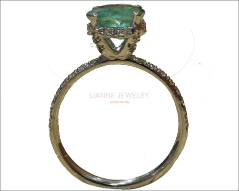 Emerald Ring Vintage Solitaire High Set with Diamonds in 14K White gold - Lianne Jewelry