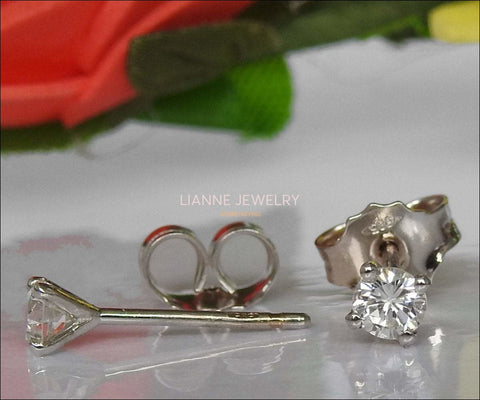 Solid White Gold Girls Stud earrings, 14K Small Earrings, White Sapphire Studs, Christmas Gift - Lianne Jewelry