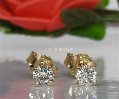 Solid Yellow Gold Girls Stud earrings, 14K Small Earrings, White Sapphire Studs, Christmas Gift - Lianne Jewelry