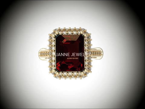 18K Gold Red Emerald cut Lab Tourmaline, Unique Engagement Ring surrounded with 76 Diamonds - Lianne Jewelry