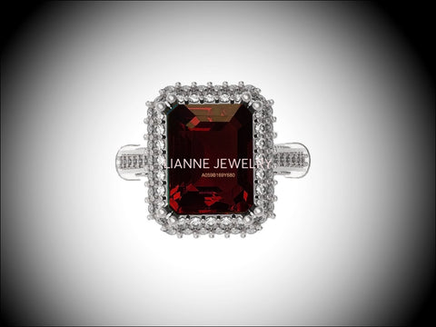 18K White Gold Red Emerald cut Lab Tourmaline, Unique Engagement Ring surrounded with 76 Diamonds - Lianne Jewelry