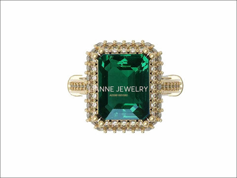 Emerald Engagement Ring Milgrain Pave Diamond all around Halo Emerald Ring 18K Solid Gold Diana Ring Vintage Style Emerald May Birthstone - Lianne Jewelry