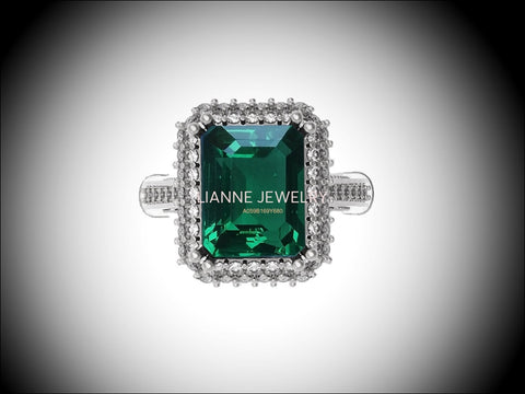 18K White Gold Emerald Engagement Ring Milgrain Pave Diamond all around Halo Emerald Ring Gold Ring Vintage Style Emerald May Birthstone - Lianne Jewelry