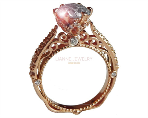 Rose Gold 2.5 ct Filigree Solitaire 6 prongs 18K Victorian Unique Diamond Engagement Ring - Lianne Jewelry