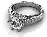 White Gold 2.5 ct Filigree Solitaire 6 prongs 18K Avant Garde Unique Moissanite Engagement Ring - Lianne Jewelry
