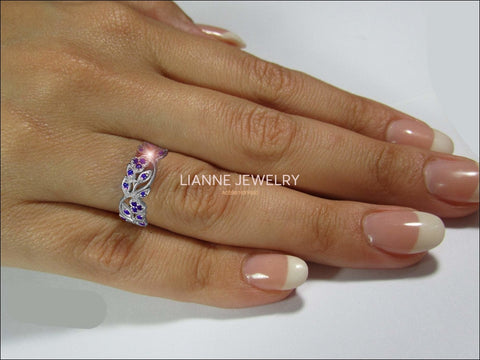 18K White gold Leaves Band with 42 Sapphires Filigree Ring Milgrain Twig Ring - Lianne Jewelry