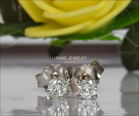 14K White Gold Studs, Girl Earrings, Small Stud Earrings, White Sapphire Studs, Christmas Gift - Lianne Jewelry
