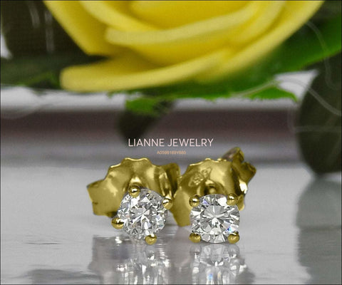 14K Gold Studs, Girl Earrings, Small Stud Earrings, White Sapphire Studs, Christmas Gift - Lianne Jewelry