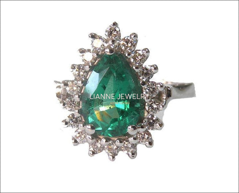 Vintage Emerald Ring Pear shape Emerald diamonds 14K White gold Frame Pave Diana ring F VS-1 Diamonds surround the Emerald May Birthstone - Lianne Jewelry