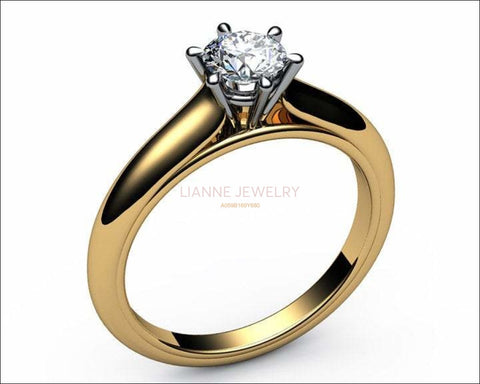 18K Solitaire Diamond Ring, 2 Tone, prongs, Unique Engagement Ring, Classic Gold Ring, Bridal Wedding Ring - Lianne Jewelry