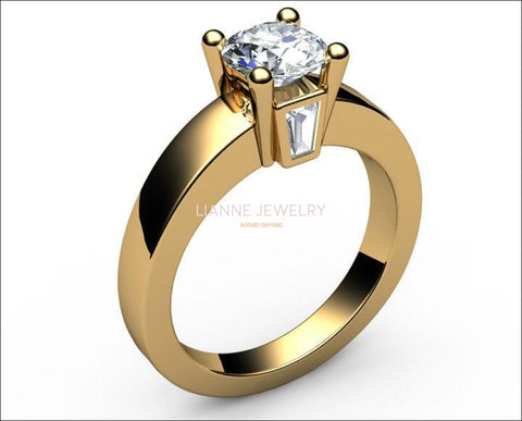 Gold ring Unique moissanite engagement ring Solitaire flanked by 2 taper baguettes Diamonds in 18K Yellow or 18K White Gold - Lianne Jewelry