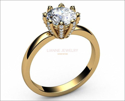 14K Solitaire Moissanite Ring, Unique Solitaire Engagement Ring, 8 prongs, Diamonds on Prongs, Wedding Ring, Ring for Bride - Lianne Jewelry