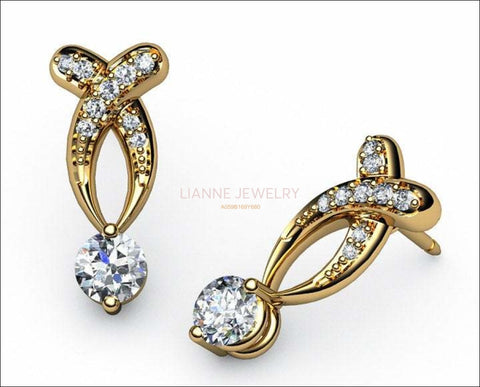 Twist stud Earrings Diamond Stud Earrings 18K Diamond Studs White Sapphire Studs - Lianne Jewelry