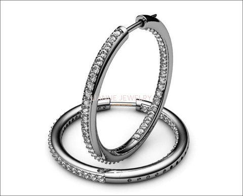 Gold Thin Hoops with Diamonds inside out, 94 Diamonds Hoop Earrings, 1.1/4 carat, 18K White gold 18K Yellow gold 18K Rose gold forever - Lianne Jewelry