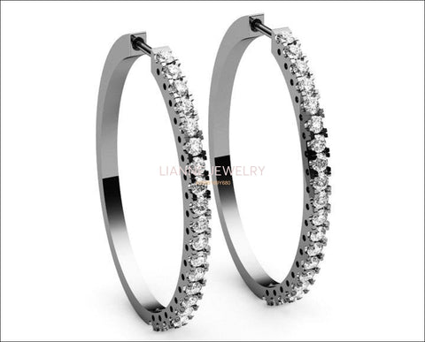 Big Thin Hoops 40 diamonds Hoop Earrings  2.2/3 carat 18K White gold 18K Yellow gold 18K Rose gold marriage forever - Lianne Jewelry