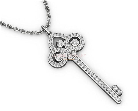 Key Pendant 3 ct Diamonds 18K white gold 13 grams 65 mm Success key  Minimalist pendant - Lianne Jewelry