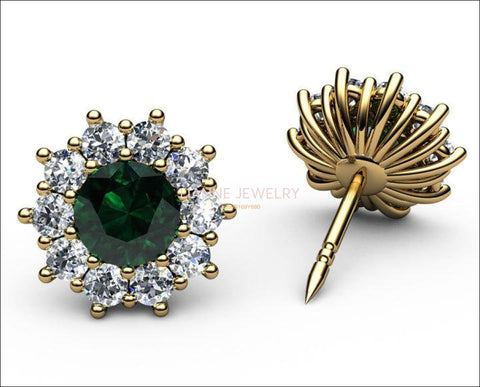 Emerald Halo Diamond Stud Earrings, Emerald surrounded with Diamonds - Lianne Jewelry