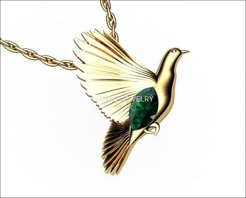Bird Pendant Peace Pendant Gold Green Marquise Peace Dove Emerald Pendant - Lianne Jewelry