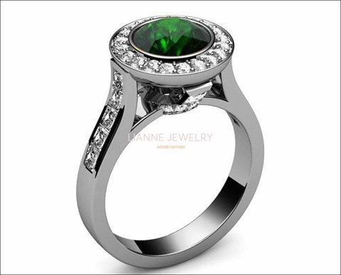 18K Halo Emerald Engagement Ring, Cathedral Ring, Channel set Ring, Unique Engagement Ring - Lianne Jewelry