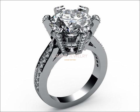 Diamond Engagement Ring 1 carat White gold Big Ring - Lianne Jewelry