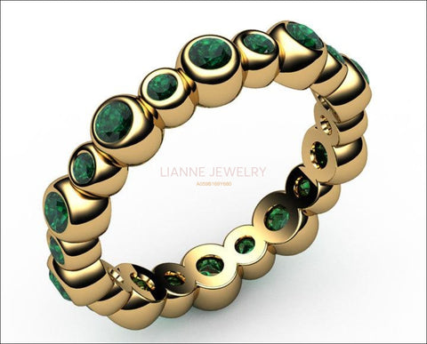 Emerald Eternity Ring 20 stones 18K gold Jewelry marriage anniversary ring wedding party May Birthstone - Lianne Jewelry