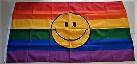 Rainbow Smiley Face Pride Flag
