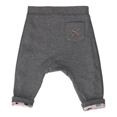 Grey Marl and Pink Kids Organic Cotton Leopard Reversible Joggers