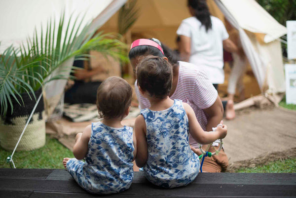 Kids at the Hunter + Boo official launch with glamping by Glamping Society