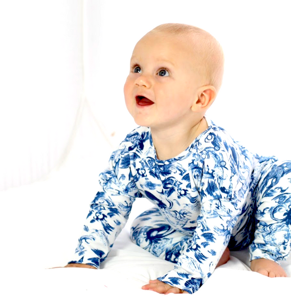 Hunter and Boo Blue and White Kids Organic Cotton children's pyjamas