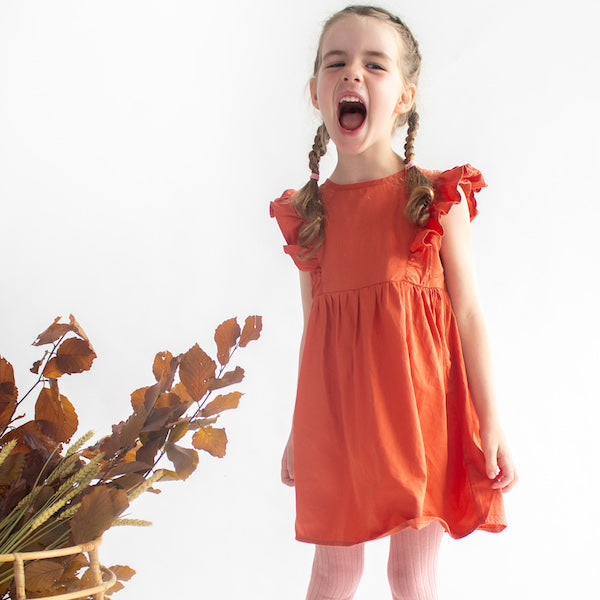 Frill Sleeve Kids Dress in Terracotta Organic Cotton