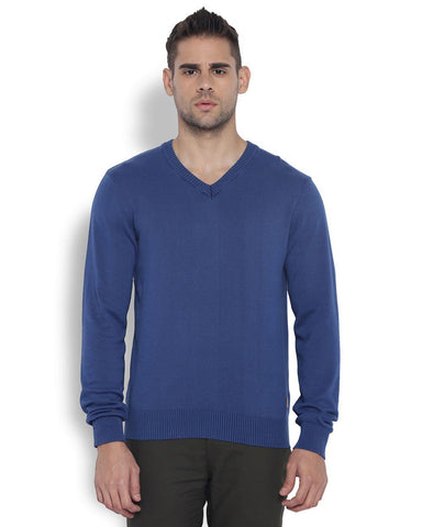 Park Avenue Men Polyester Medium Blue Regular Fit Sweater