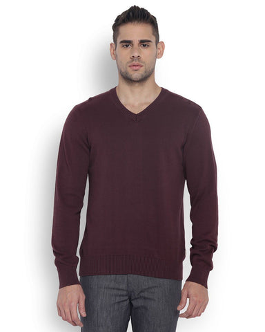 Park Avenue Men Polyester Medium Maroon Regular Fit Sweater