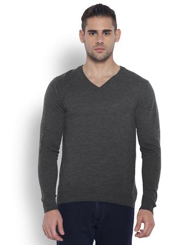 Park Avenue Men Wool Blend Dark Grey Regular Fit Sweaters