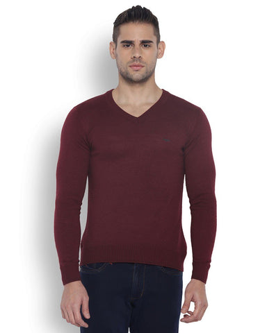 Park Avenue Men Wool Blend Dark Maroon Regular Fit Sweaters