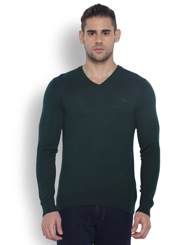 Park Avenue Men Wool Blend Medium Green Regular Fit Sweaters