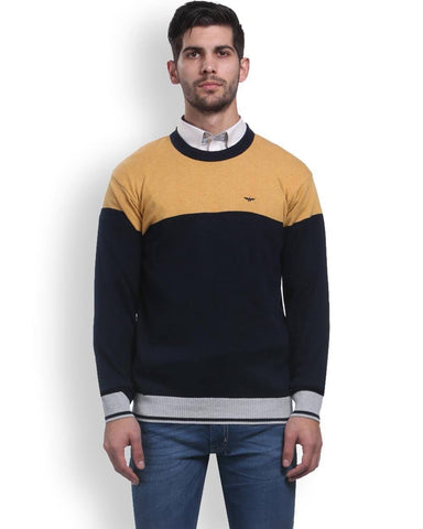 Park Avenue Yellow Regular Fit Sweater