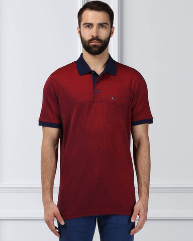 Raymond Supima Men Red Contemporary Fit T-Shirt