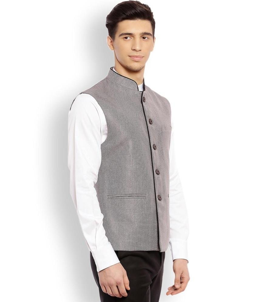 Raymond  Grey Contemporary Fit Nehru Jacket