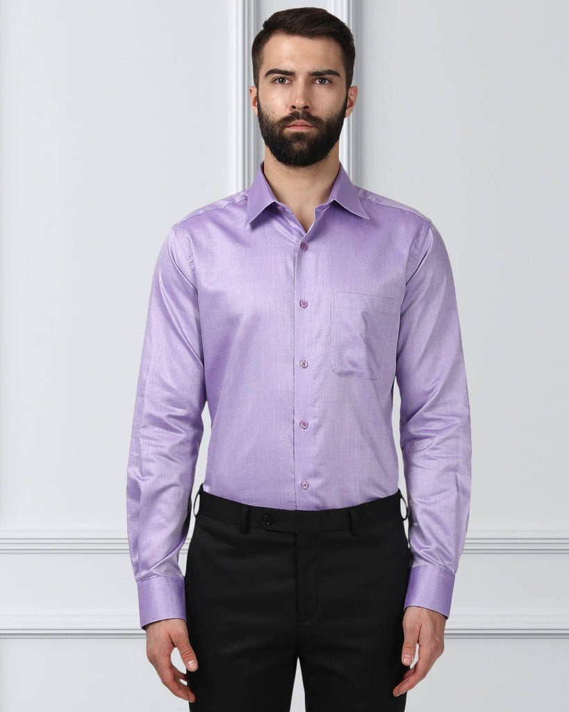 Raymond Men Violet Cotton Slim Fit Shirt