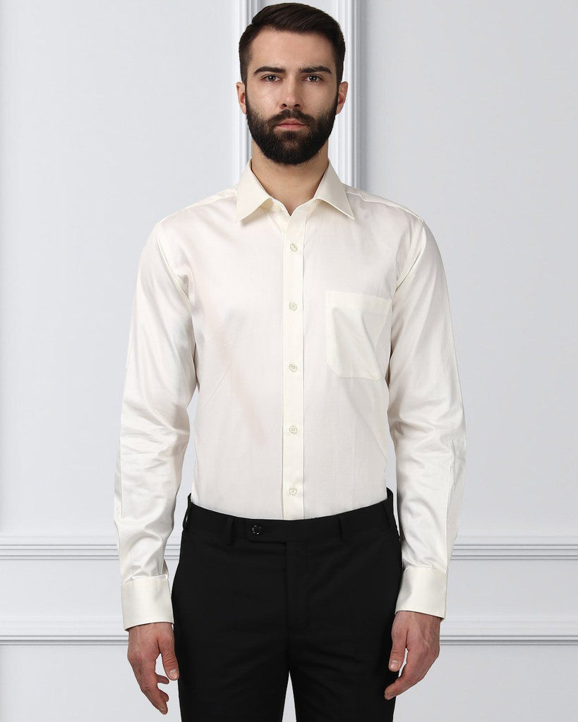 Raymond Men White Cotton Contemporary Fit Shirt