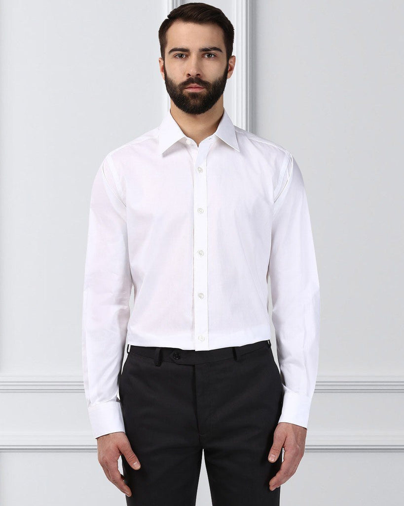 Raymond Supima Men White Contemporary Fit Shirt