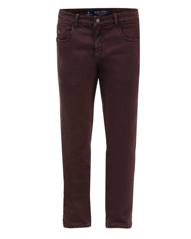 Parx Maroon Slim Tapered Fit Jeans