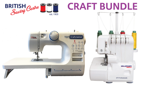 CRAFT BUNDLE - Sewing Machine, Overlocker, Walking Foot, Threads & Scissor Set